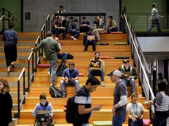 Workers at Amazon's Seattle campus.