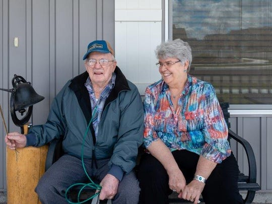 """""""I married my best friend,"""" Vergie """"Verg"""" Scroughams says of her husband, Delmar. Delmar, who has dementia, acknowledged his weapons could prove dangerous."""
