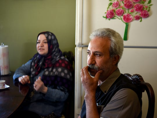 Abeer Karkoutly, left, and her husband, Khaled Al Samakeh,
