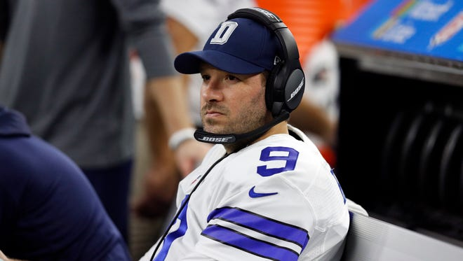 Dallas Cowboys' Tony Romo sits on the bench in the first half of an NFL football game against the Detroit Lions on Monday, Dec. 26, 2016, in Arlington, Texas. (AP Photo/Brandon Wade) ORG XMIT: otktg154