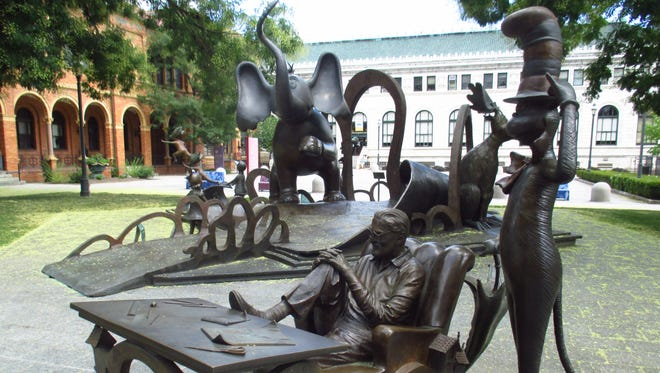 Dr. Seuss and some of his characters are remembered in bronze.