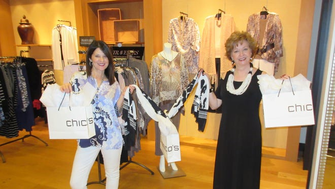 Chico's Store Manager Lisa Earls, left, and Connie Maynord, Newcomer Model Chairman.