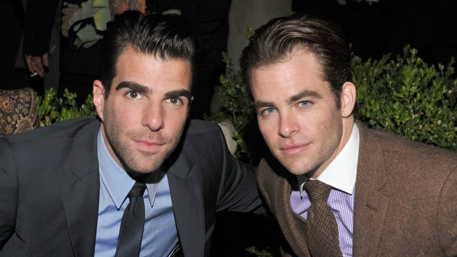 """LOS ANGELES, CA - NOVEMBER 17:  Actors Zachary Quinto (L) and Chris Pine attend GQ's 2011 """"Men of the Year"""" Party held at Chateau Marmont on November 17, 2011 in Los Angeles, California.  (Photo by Lester Cohen/WireImage)"""