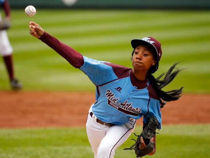 Philadelphia's Mo'ne Davis delivers in the first inning against South Nashville at the Little League World Series. Davis tossed a two-hit shutout as South Nashville lost 4-0.