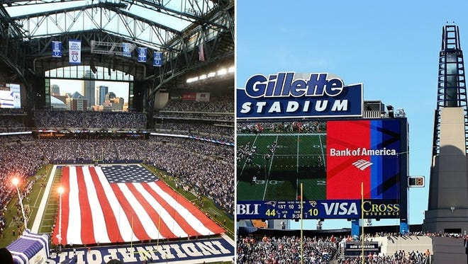 Lucas Oil Stadium and Gillette Stadium are home to the Colts and Patriots, respectively.