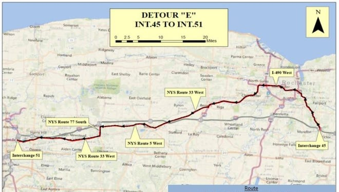 A map of state Thruway detour route E.