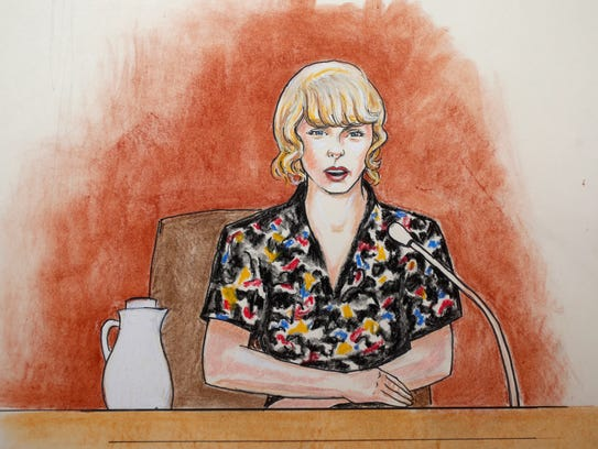 Courtroom sketch of Taylor Swift on the stand at the