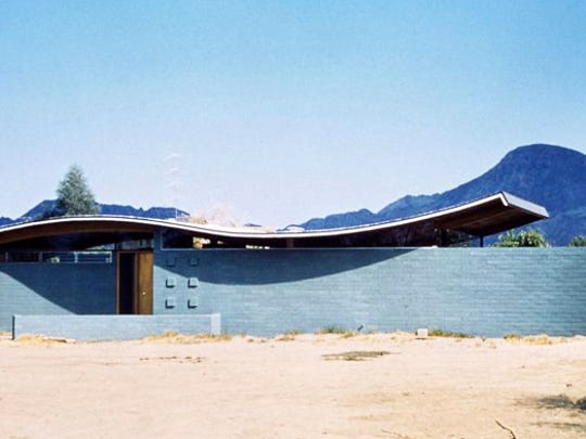 How the Miles C. Bates house in Palm Desert initially looked. Designed by well-known mid-century architect Walter S. White, the house was added on to by another owner in the 1960s, obstructing view of the roof.