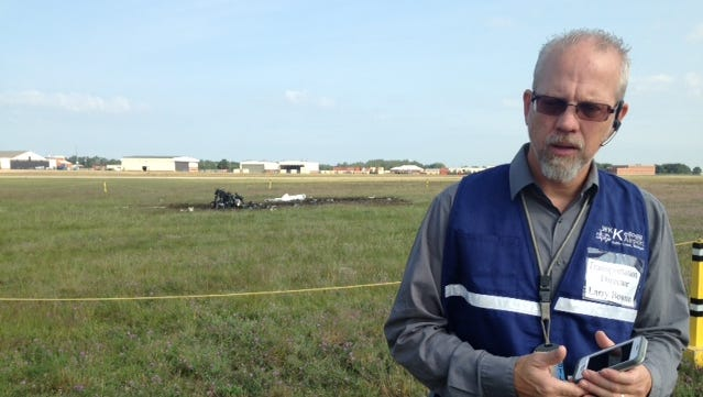 At the scene of last night's fatal plane crash, W.K. Kellogg Airport  Manager Larry Bowron talks about the investigation.
