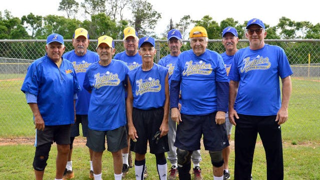 SUPER SENIOR DIVISION CHAMPS - Super Senior Division Champion team members are, from left, Bob Failla, Mike Manasia, Charles Corbo, Dave Barry, Vic Troiano, manager, Jerry Barnett, Jack Fitzimmons, Tony Coccia and John Golden.