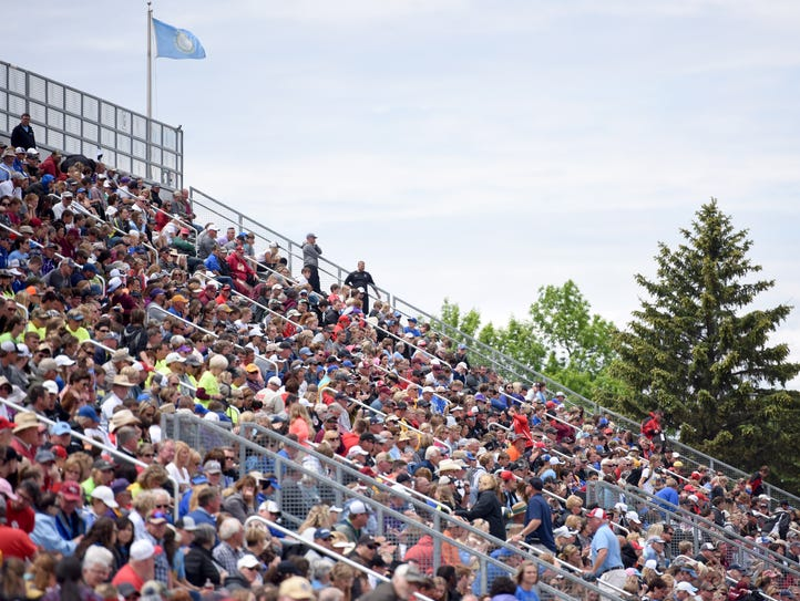 Spectators pack the stands during the State Track and