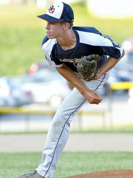 Spring Grove's Matt Brooks, seen here pitching in American Legion action, struck out 11 en route to a complete-game win vs. Twin Valley on on Tuesday.