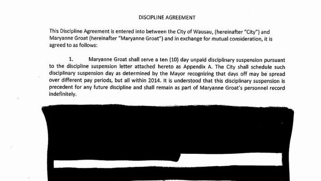 A redacted portion of the discipline agreement for Maryanne Groat, Wausau city finance director.