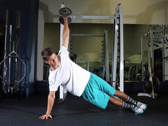 Side plank shoulder raises: If you have light dumbbells, turn the side plank into a shoulder raise. Hold your body weight up with one arm and a straight body, hold a light dumbbell in the top arm and, keeping it straight, raise and lower it slowly up to 90 degrees at the shoulder and back down to your side.