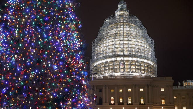 The Capitol Dome and the Capitol Christmas Tree on Dec. 11.