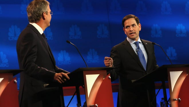 Presidential candidates Marco Rubio and Jeb Bush at the GOP debate on Oct. 28, 2015.