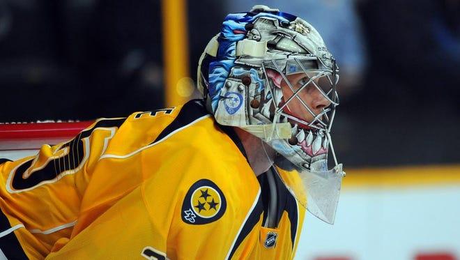 Nashville Predators goalie Pekka Rinne (35) in the second period during a preseason hockey game against the Columbus Blue Jackets at Bridgestone Arena.