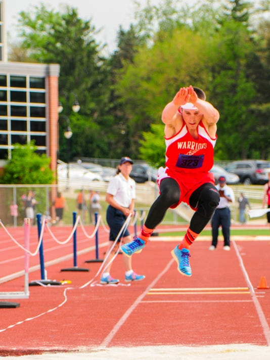 Tyler Buckley, of Susquehannock High School, competed in the Class AAA boys' triple jump on Day 1 of the District III Track and Field Championships held at Shippensburg's Seth Grove Stadium on May 15.