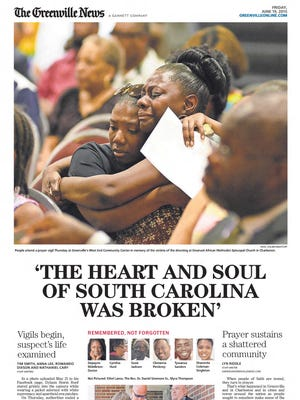 The front page of The Greenville News on June 19, 2015.