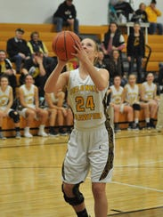 Caitlin Koschnick scores her first basket of the season