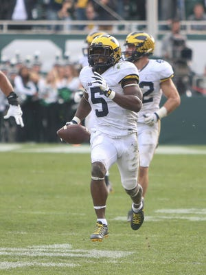 Michigan Wolverines' Jabrill Peppers runs back the point-after attempt for two points late in the fourth quarter against the Michigan State Spartans on Saturday, Oct. 29, 2016 at Spartan Stadium in East Lansing.