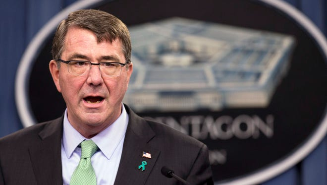 """Defense Secretary Ashton Carter speaks during a news conference at the Pentagon in Washington. The Islamic State's takeover of Ramadi is evidence that Iraqi forces do not have the """"will to fight,"""" he said in an interview on CNN's """"State of the Union"""" that aired Sunday, May 24, 2015."""