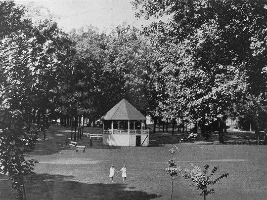 The original gazebo in Edmund Lyon Park is seen here. It was later replaced in 1988