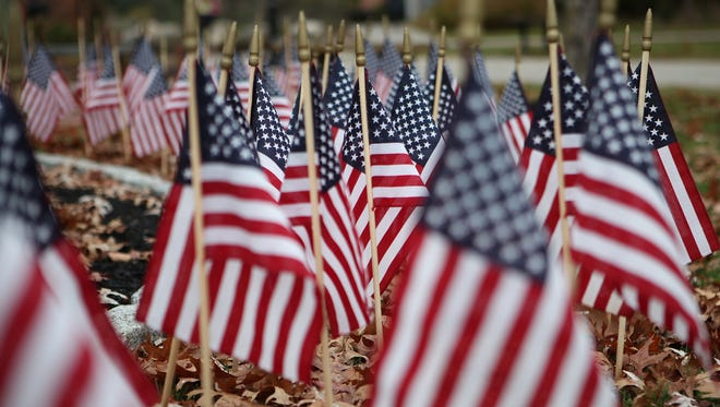 American flags in Rockland, seen on Veterans Day 2015.