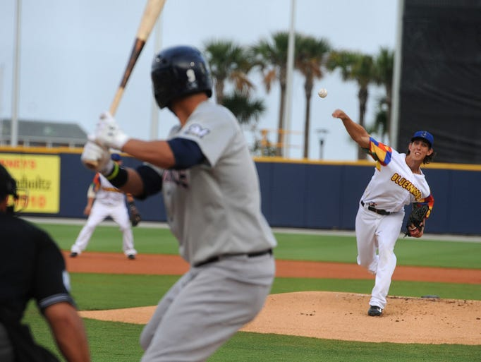 Blue Wahoos pitcher Michael Lorenzen pitches to his former college teammate Nick Ramirez of the Huntsville Stars in the first inning Saturday night.