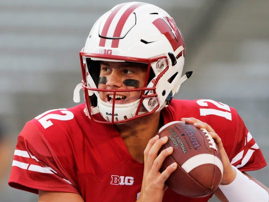 Wisconsin Badgers quarterback Alex Hornibrook (12) warms up before an NCAA football game at Camp Randall on Friday, August 31, 2018 in Madison, Wis. Adam Wesley/USA TODAY NETWORK-Wis
