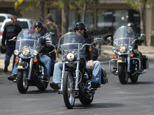 Bikers arrive at a motorcycle awareness ride in Springfield in this file photo.