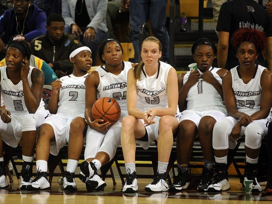 Maryland Eastern Shore's women's basketball team takes a break during the Hawk Hysteria scrimmages on Friday, Oct. 14, 2016.