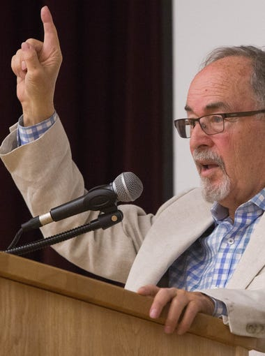 David Horowitz, the controversial speaker and author speaking at Gerald Thomas Hall, Wednesday, May 3, 2017. Horowitz said he felt that the current administration wasn't being given the traditional honeymoon period that other presidential administrations are give during his speech.