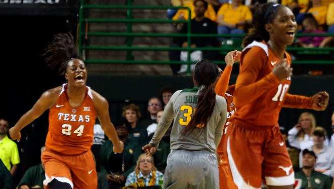 Texas Longhorns guard/forward Joyner Holmes (24) reacts during the second half against the Baylor Bears at Ferrell Center.