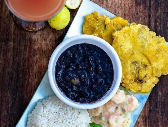 Black beans and other treats at Cuban Mojos Cafe in