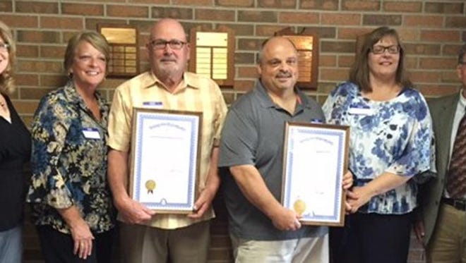Larry Lawrence, well known volunteer in Brighton, and Jon King, news director of WHMI radio, received DAR certificates and pins.