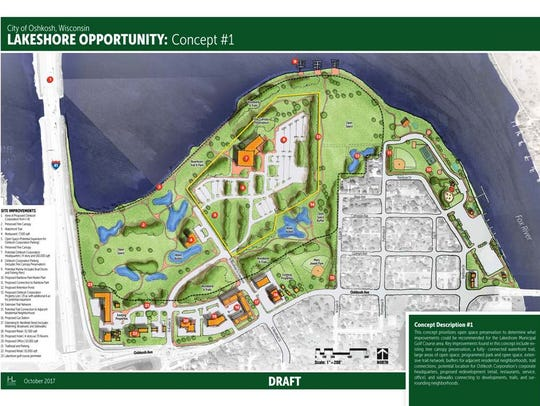 The city of Oshkosh unveiled two design options for Oshkosh Corp., utilizing about 35 acres of land at Lakeshore Municipal Golf Course for the company's new global headquarters.