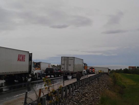 A jackknifed tractor-trailer has closed both southbound