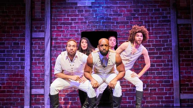 "Waverly grad Chuckie Benson, left, in a production of the ""Hamilton"" spoof, ""Spamilton."""