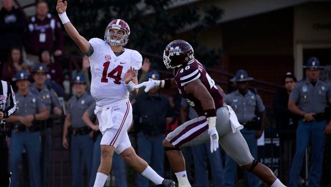 Mississippi State defensive end pursues Alabama quarterback Jake Coker during their November game. Brown played the last month of the season with a foot injury.