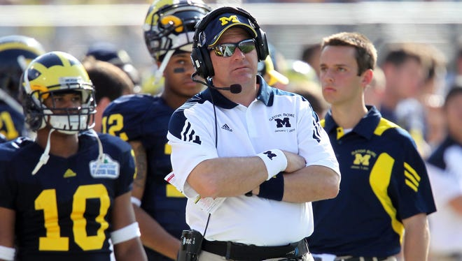 Former Michigan Wolverines head coach Rich Rodriguez during the Gator Bowl against the Mississippi State Bulldogs at EverBank Field.