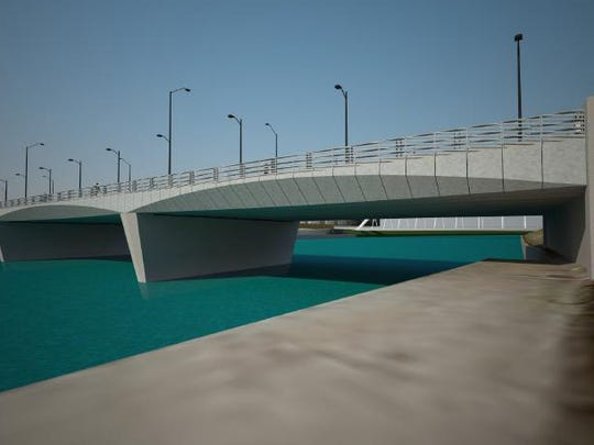 An architectural rendering from the city of Des Moines shows how steel panels create the impression of an arch with a scallop design for the Grand Avenue bridge over the Des Moines River.