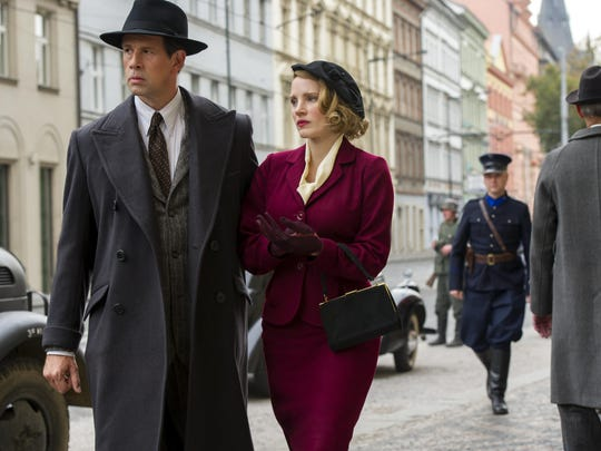 "Johan Heldenbergh and Jessica Chastain star in ""The Zookeeper's Wife."""