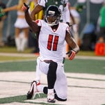 Atlanta Falcons wide receiver Julio Jones (11) reacts during first half against the New York Jets at MetLife Stadium.
