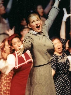"""Anna Bonde plays the part of Peggy Sawyer in Livonia Churchill High School's production of """"42nd Street"""" in 1998. She was killed by a drunken driver three years later. An annual murder mystery dinner theater show helps generate funds for a scholarship in her memory."""