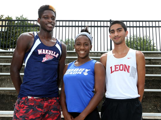 The Tallahassee Democrat's 2014 All-Big Bend track and field athletes: Boys Field Athlete of the Year Corion Knight (Wakulla), Girls Runner of the Year Caitlin Wilson (Godby), Boys Runner of the Year Sukhi Khosla (Leon); not pictured, Girls Field Athlete of the Year Darrielle McQueen (NFC)