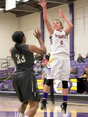 Western's Jordan Gutierrez tied with teammate Megan Looney for the team lead of 10 points Monday night against Eastern New Mexico University. Gutierrez hit three treys on the night.