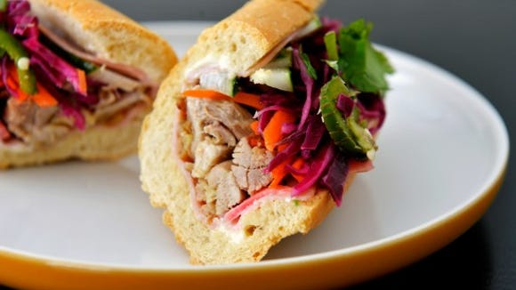 Roasted chicken banh mi sandwich. Photo by Chris Dunn.