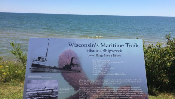 A sign commemorates the sinking of the steam barge