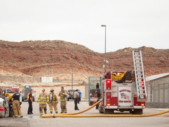 Firefighters respond to a fire at Purgatory Correctional